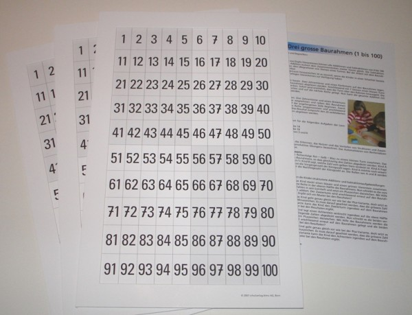 3 grosse Karton-Baurahmen 1-100